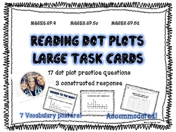 Large Dot Plot Task Cards with Constructed Response (6th grade math)