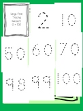 Large Dotted Line Font Tracing Numbers 0 - 100 for the Visually Impaired