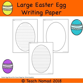 Large Easter Egg Writing Paper Templates