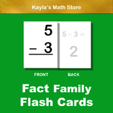 Large Fact Family Flash Cards: Addition & Subtraction - Also Use as Write & Wipe