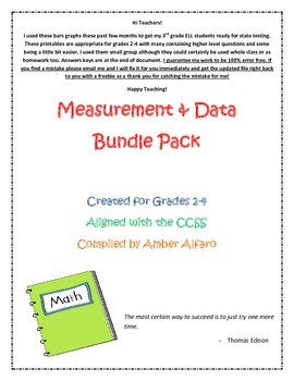 Large File Bar & Line Graphs, Pie Charts, More ~ 2nd, 3rd, 4th, ESL/ELL Math