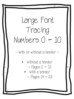 Large Font Print Tracing Numbers, Number Match, Number Words Bundle