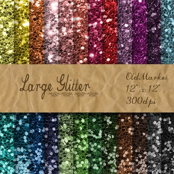 Large Glitter Digital Paper Pack - Glitter Textures - 24 Papers - 12 x 12