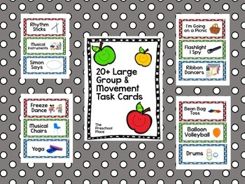 Large Group, Circle Time, and Movement Time Task Cards for Preschool