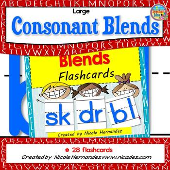 Large CONSONANT BLENDS Flashcards with Handwriting Lines