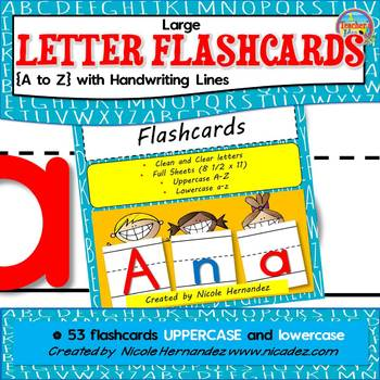 Large Letter Flash Cards {A to Z} with Handwriting Lines