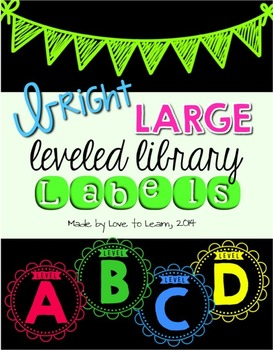 Large Leveled Library Labels - Bright & Black