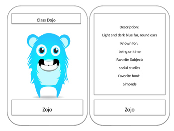 Large Monster Cards (Class Dojo themed)