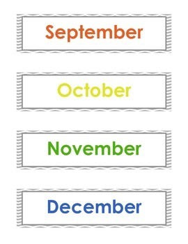 Large Months of the year & Year printable - English & Spanish