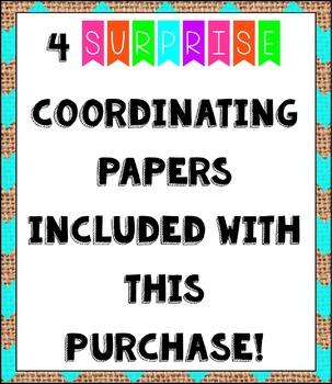 Large NEON Chevron Burlap Digital Papers {Commercial Use Digital Graphics}
