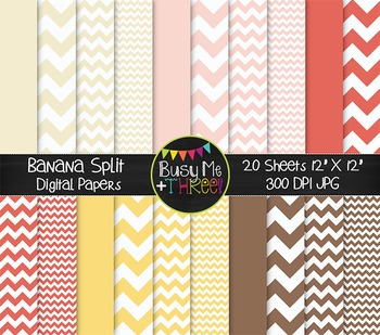 Banana Split Chevron Digital Papers {Commercial Use Digital Graphics}