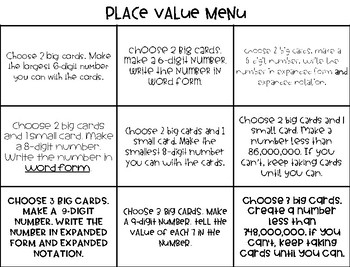 Large Number Place Value Menu Choice Board