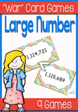 "Large Number Place Value ""War"" Math Card Game/Center"