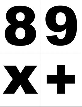 Large Number & Sign Cards to use with your Common Core Math Activities