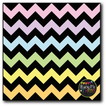 Large Pastel Chevron {BLACK} Digital Papers {Commercial Use Digital Graphics}