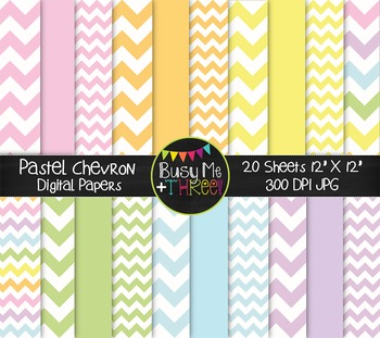 Large Pastel Chevron Digital Papers {Commercial Use Digital Graphics}