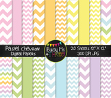 Large Pastel Chevron Digital Papers {Commercial Use Digita