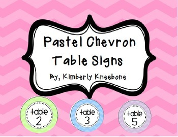 Table Signs (Tables 1-5) - Large Pastel Chevron