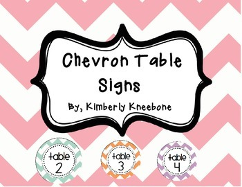 Table Signs (Tables 1-5) - Pastel Chevron