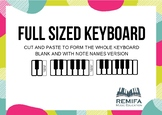 Large Piano Keyboard with and without note names. All 88 keys.