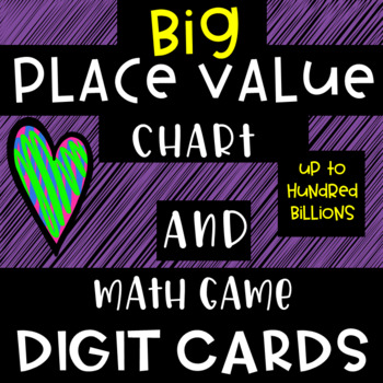 Large Place Value Chart - Classroom Display // matching digit cards math games