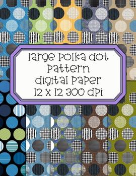 Large Polka Dot Patterned Digital Papers  - 300 dpi 12x12