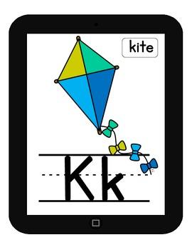 Large Primary Alphabet Cards {iPad Theme}