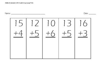 Large Print Addition/Subtraction Placement Test