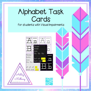 Large Print Alphabet Writing Practice Task Cards for Visually Impaired Students