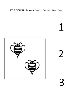 Large Print Bee Picture to Number Match for Visually Impaired
