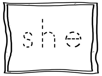 Large Print dotted line tracing SIGHT WORDS for the visually impaired