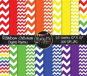 Large Rainbow Chevron Digital Papers {Commercial Use Digit