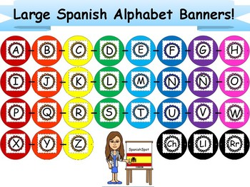 Large, Rainbow Spanish Alphabet Banners- Horizontal & Vertical Format