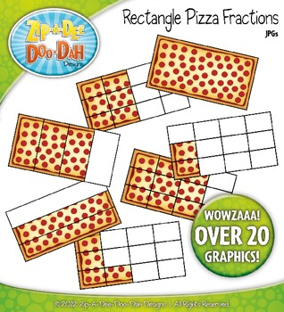 Large Rectangle Pizza Fractions Clipart — Over 20 Graphics!