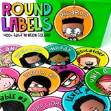 Large Round Editable Labels   Neon Colors   Editable