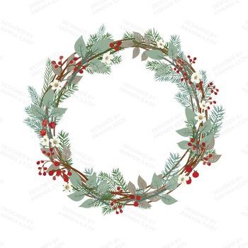 Large Rustic Pine Wreath Clip Art - 12 Inch Pine Wreath Clipart
