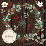 Large Rustic Pine Wreath Clip Art - 12 Inch Pine Wreath Clipart