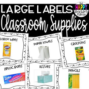 Large School Supply Labels *Orientation Back to School- Meet the Teacher*