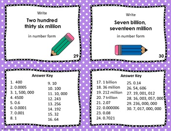 Large & Small Number Task Cards- powers of 10, exponents and scientific notation