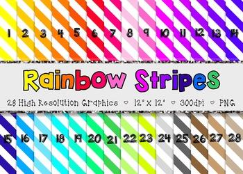 Large Stripes Digital Paper Set  - Rainbow Brights {28}