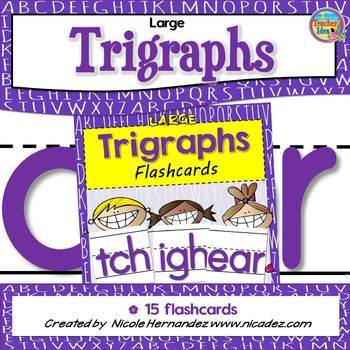 Large TRIGRAPHS Flash Cards with Handwriting Lines