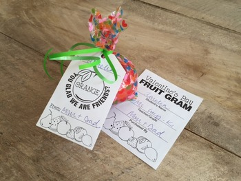 Valentine's Day Fruit Gram (Candy Gram) Large and small tags included