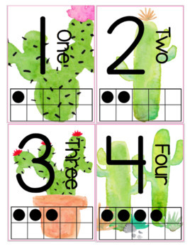 Watercolor Cactus Posters | Alphabet & Numbers