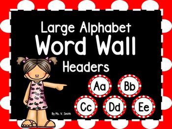 Large Word Wall Headers (Red and White Polka Dot Circles)