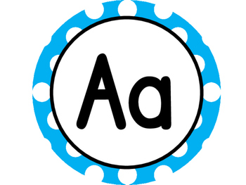 Large Word Wall Headers (Aqua and White Polka Dot Circles)