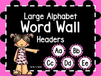 Large Word Wall Headers (Pink and Black Polka Dot Circles)