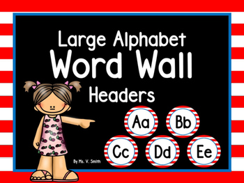 Large Word Wall Headers (Red White Blue Striped Circles)