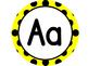 Large Word Wall Headers (Yellow and Black Polka Dot Circles)