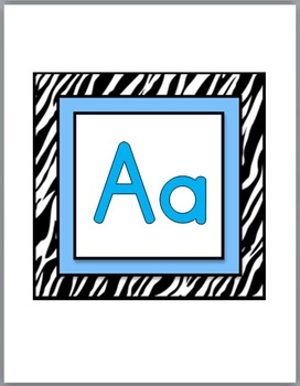 Zebra Theme Classroom Decor with Blue Word Wall Headers - Large Size