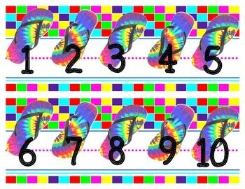 Large number line chalkboard display {tye dye flip flop theme}